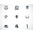 black greece icons set vector image