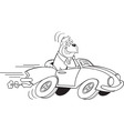 Cartoon gorilla driving a sports car vector image