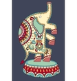 ethnic colored drawing of circus theme - elephant vector image