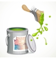 Iron bank with paint and brush splashes of green vector image