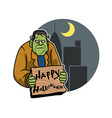 Frankenstein And City Background vector image