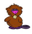 beaver cartoon hand drawn image vector image