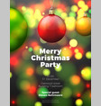 christmas poster with bright balls vector image