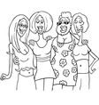 women friends cartoon vector image vector image
