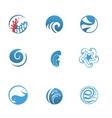 Blue Sea Icons Set vector image vector image