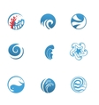 Blue Sea Icons Set vector image