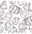 Cute seamless pattern with cartoon cheese milk vector image