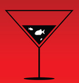 fish in martini on red vector image