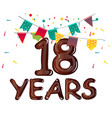 greeting card for eighteen year in modern flat vector image