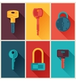 Locks and keys icons set in flat style vector image