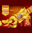 spicy potato chips on package with onion pepper vector image