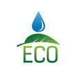 Water drop and green leaf Ecology green design vector image