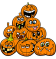 cartoon halloween pumpkins group vector image