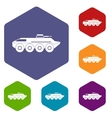 Armored personnel carrier icons set vector image