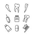 Dental icons set on white background vector image