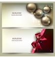 Christmas banners Golden Xmas baubles set vector image