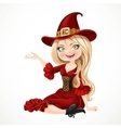 Beautiful blonde witch in maroon dress sitting on vector image vector image