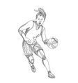 female basketball player doodle art vector image