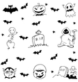 Halloween tomb evil and ghost doodle set vector image