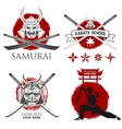 Set of samurai karate school labels Ninja vector image