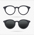 glasses set on transparent background vector image vector image