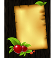 paper with leaves and berry vector image vector image