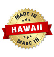 made in Hawaii gold badge with red ribbon vector image