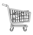 cart shopping paper bag gift commerce outline vector image