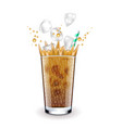 ice latte with splashes isolated on white vector image