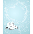 Ice skates with a heart symbol vector image
