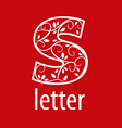 ornate letter S logo on a red background vector image