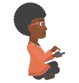Woman using mobile phone vector image