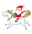 hand drawn cute unicorn and santa claus vector image