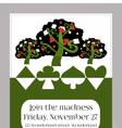 Invitation card - Tree from Wonderland Garden vector image