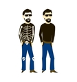 Man in casual clothes and dressed up in a skeleton vector image