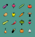set of vegetables hand drawn vegetable icons vector image