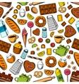 Desserts and kitchen utensils seamless background vector image