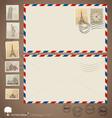 Vintage envelope designs and stamps vector image vector image