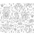 Animal Woodland Camping sketch vector image