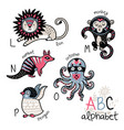 animals alphabet l - p for children vector image