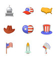 love of america icons set cartoon style vector image