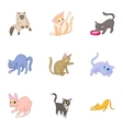 Furry friend icons set cartoon style vector image