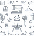 Sewing equipment tailor supplies seamless pattern vector image