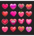 Cartoon heart icons set vector image