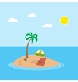 cartoon scene of exotic holiday island with vector image
