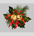 christmas decoration holly fir wreath bow golden vector image
