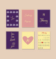 cute card with doodle heart icons for valentines vector image