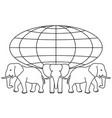 globe on elephants vector image