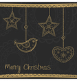Greeting card with gold Christmas tree decoration vector image