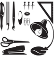Office tools silhouette set 01 vector image